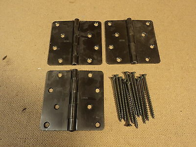 Stanley Hinges Heavy Duty 1 3/4in W x 4in L Antique Brass Finish Set Of 3 4-Hole