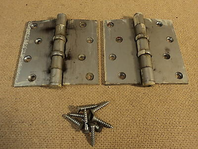 Stanley Hinges Heavy Duty 1 3/4in W x 4in L Silver Set Of 2 4-Hole BB241 Vintage