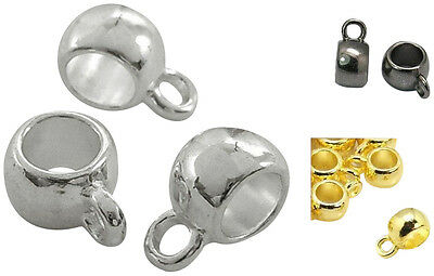 30 x Kumihimo Pendant Slide Bead Bails - Silver,Gold & Black Plated - lady-muck1