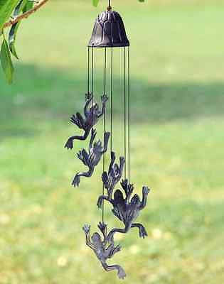 Jumping Frog Climbing Wind Chime Garden Bell Windchimes Cast Iron