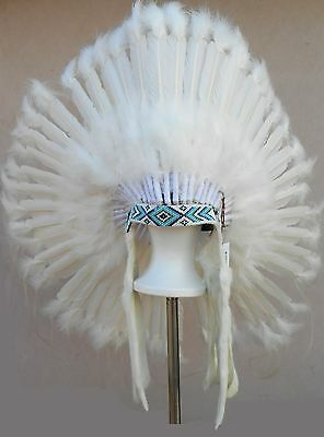 "Genuine Native American Navajo Indian Headdress 36 inch ""WEDDING"" All White"