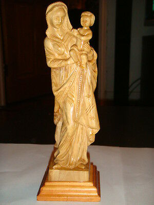 VIRGIN MARY (Madonna) and Child (baby),Olive wood, hand made from the holy land