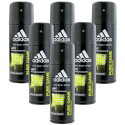 6 x 150ml Adidas Pure Game Deo Deospray Deodorant Bodyspray Deo Spray Parfüm
