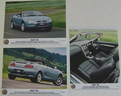 MG MGF SE x 3 original col Press Photos front, rear & interior Nos. 010 012 013
