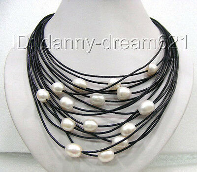 AMAZING beautiful 15rows white natural freshwater pearls necklace a0095