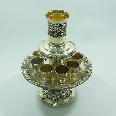 Sterling Silver Judaica Kiddush Wine Fountain 8 Cups Goblet
