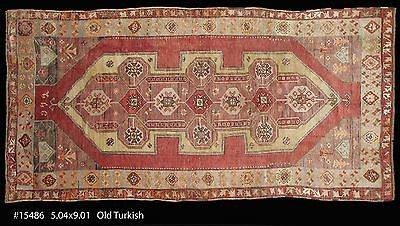 Stunning antique Anatolian Turkish hand made Oriental Rug,soft colors, 5-4 x 9-1
