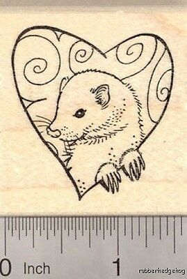Valentine's Day Ferret Rubber Stamp, with Heart E20209 WM