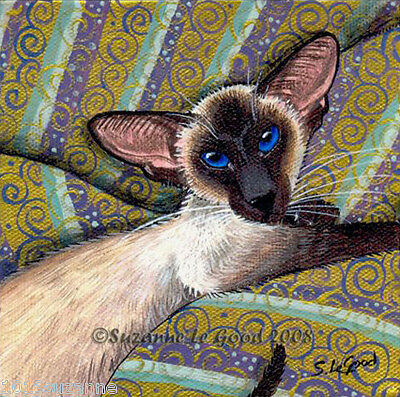 Large Limited Edition Sealpoint Siamese Cat Gold Painting Print Suzanne Le Good