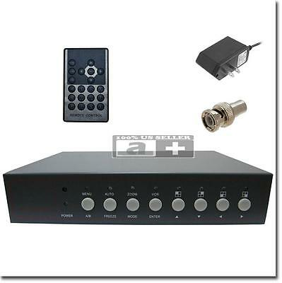 4 CH Color Real Time Video Quad CCTV Splitter Processor Switch System w/ Loopout