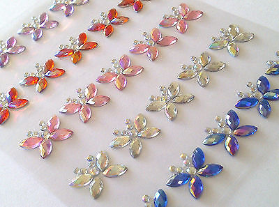 25 x 15mm MIXED AB Stick On Diamante BUTTERFLY Gems Self Adhesive Rhinestones