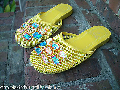 Design Studio Yellow Meshy Sequin & Bead Mule Flip Flop Beach Pool Sandal 6 7