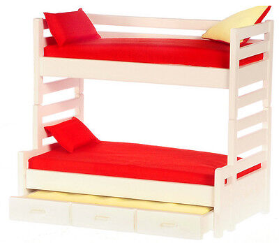 trundle bunk bed with red mattress and pillows Miniature dollhouse NEW