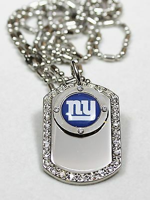 NEW YORK GIANTS BLING ICED OUT NFL NECKLACE PENDANT CZ DOG TAG NFL