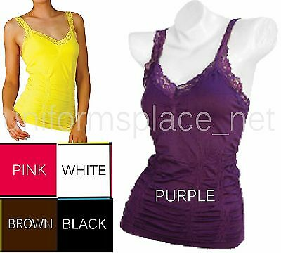 GIRLS TANK TOP WRINKLED CAMISOLE Sleeveless T-Shirt Workout Yoga Tops lace strap