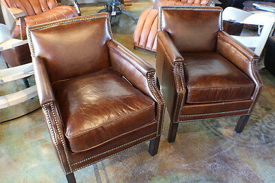 "24"" W Set of 2 Club arm chair Brazilian brown cigar leather super comfortable"