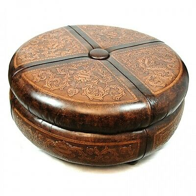 """45"""" round ottoman cocktail table amazing carvings hand tooled hard leather"""
