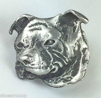 """Staffordshire Staffy Bull Terrier """"Dogs"""" Hand Made in UK Pewter Lapel Pin Badge"""