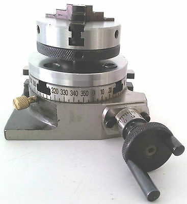 "Rotary Table 3"" 75mm w/65mm Lathe Chuck Horizontal & Vertical for Milling Machin"