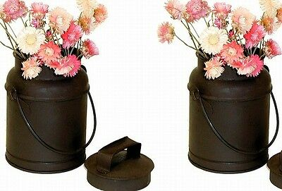 Classic Early American Decor Small Tin Milk Dairy Can Canister Pair Set of Two