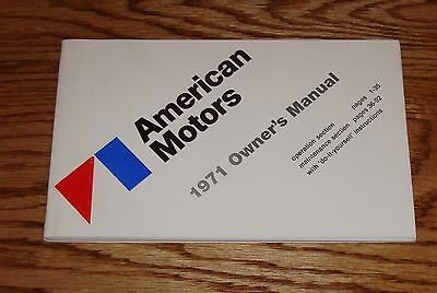 1971 AMC American Motors Owners Operators Manual 71