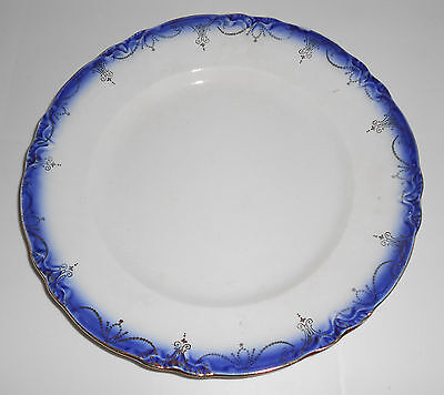 Flow Blue Imperial China Dinner Plate With Gold Decoration!