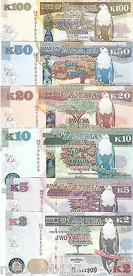 SET 6 Notes ZAMBIA Kwacha Banknote World Money Currency Africa Eagle 2012 BILL