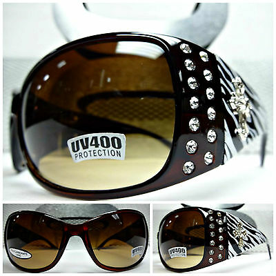a44daeb683cd WESTERN Bling COWGIRL Rhinestone SUNGLASSES Brown Frame White Zebra Silver  Cross