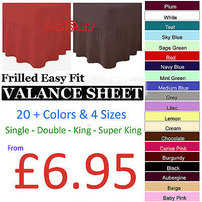 Plain Dyed Valance Sheets 50/50 PolyCotton Bed Sheet Single Double King S.King