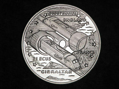 1993 Gibraltar Large Silver Proof 21 Ecu Tunnel/Train