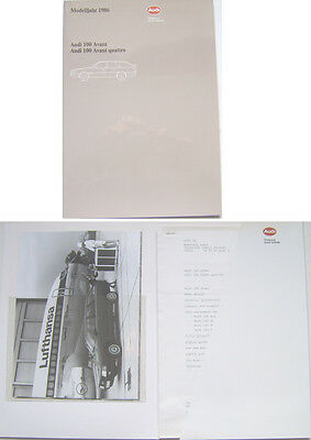 Audi 100 & 100 Quattro Avant 1985-86 Original Press Kit In English CC CS CD