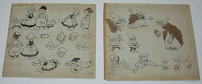 Walt Disney Silly Symphonies Babes In The Woods Production Model Sheet Orig 1932