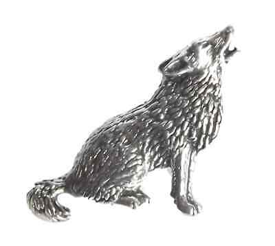"""HOWLING WOLF """"Birds, Animals & Nature"""" Hand Made in UK Pewter Lapel Pin Badge"""