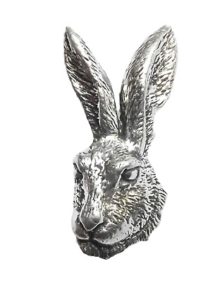 "HARES HEAD ""Birds, Nature"" Hand Made in UK Pewter Lapel Pin Badge"