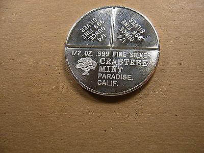 RARE BARTER BAR CRABTREE MINT 1//2 1//4 SILVER 1 oz Art Round Coin Old Fractional