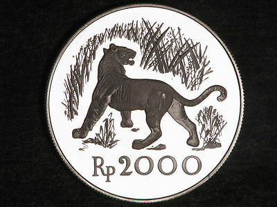 INDONESIA 1974 2000 Rupiah Javan Tiger Silver Crown Proof, .W12