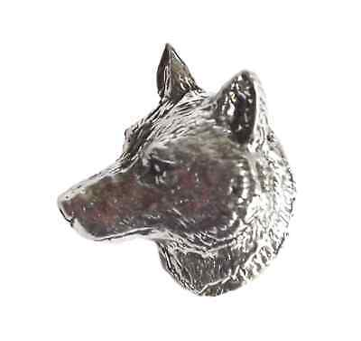 "WOLF HEAD ""Birds,Animals Nature"" Hand Made in UK Pewter Lapel Pin Badge"