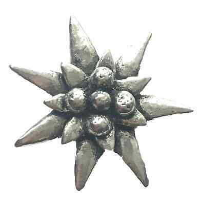 """SMALL EDELWEISS """"Flora"""" Hand Made in UK Pewter Lapel Pin Badge"""
