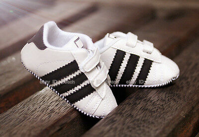 So Cute! Baby Boy White Sneakers Soft Sole Crib Shoes Size Newborn to 18 Months