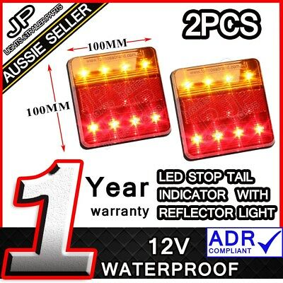 Led Trailer Lights Tail Lights Trailer Truck Caravan Square 100X100Mm Pair