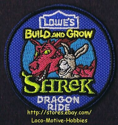 LMH PATCH Badge 2012 SHREK DONKEY  Kid's Build Grow  LOWES Clinic  DRAGON RIDE