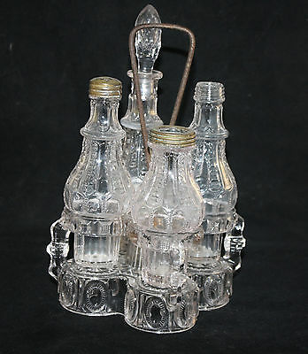 VICTORIAN EAPG 5 PCS CASTOR SET, CONDIMENTS WITH GLASS CADDY, RARE