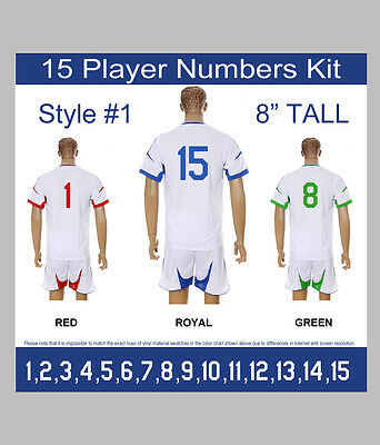 "15 Player Numbers Team KIT 8"" Tall Iron-On for Sports Jersey or T-Shirt Style #1"