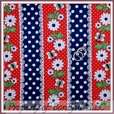 BonEful FABRIC FQ Cotton Retro Antique Red White Blue Dot L Stripe Flower Hippie