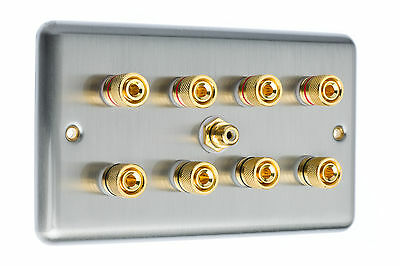 Stainless Steel 4.1 Surround Sound Speaker Wall Face Plate Gold Binding Posts