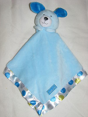 Carter's Blue Dots Circles Love Me Puppy Dog Lovey Security Blanket NWT Has Mark