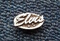 """ELVIS PRESLEY OVAL SCRIPT """"Music"""" Hand Made in the UK Pewter Lapel Pin Badge"""