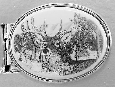 Money Clip Oval Barlow Scrimshaw Deer Portrait Silver Carved Pinted Art 530696