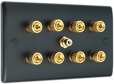 4.1 Matt Black Speaker Wall Face Plate 8 Gold Binding Posts + Single RCA Socket