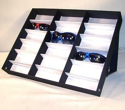 HORIZONTAL PORTABLE SUNGLASS COVERED 18 PAIR DISPLAY TRAY STANDUP sunglasses NEW
